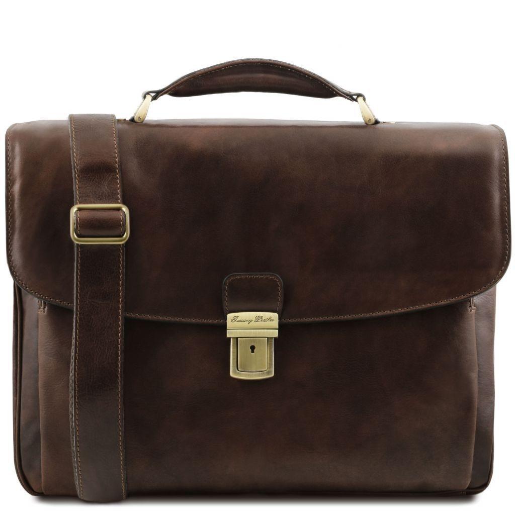 Tuscany Leather TL141448 Alessandria Cartella Porta notebook TL SMART multiscomparto in pelle Testa di Moro