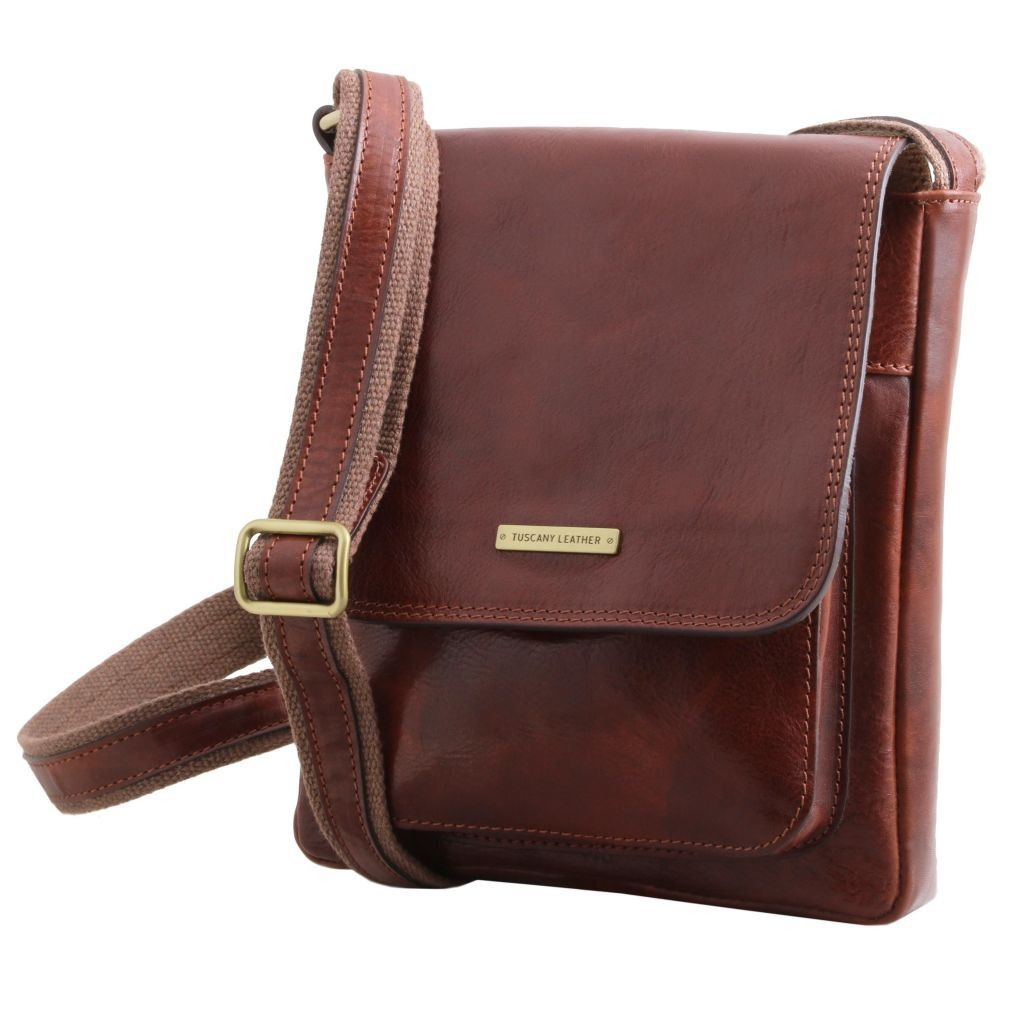 Tuscany Leather TL141407 Jimmy - Sac pour homme en cuir avec poche frontale Marron