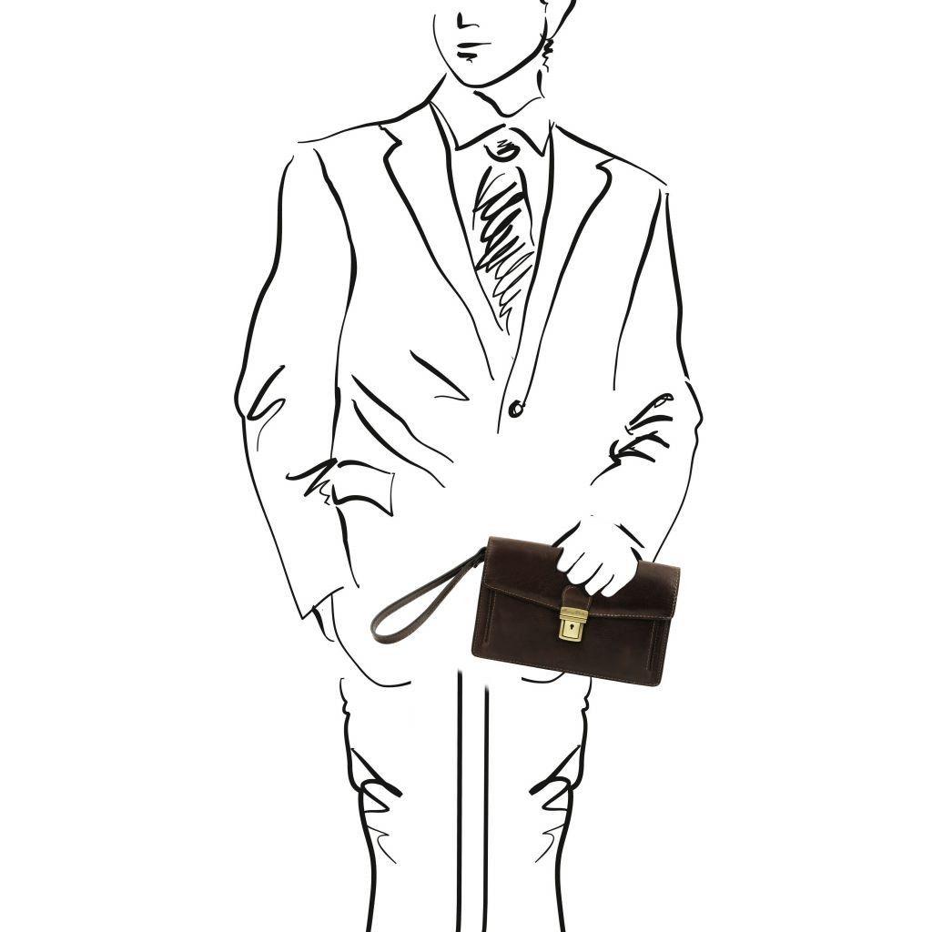Tuscany Leather TL141442 Tommy - Elégante pochette en cuir pour homme Marron foncé