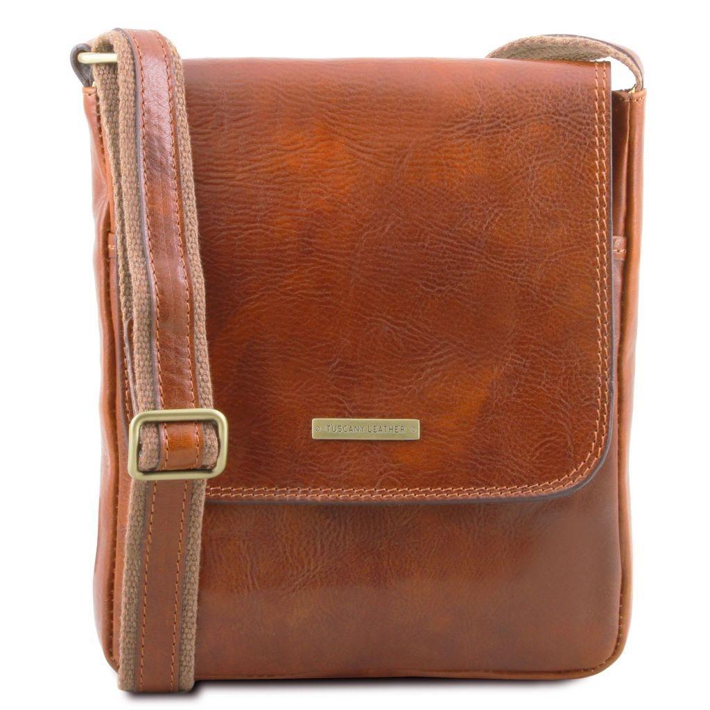 Tuscany Leather TL141408 John - Sac en cuir pour homme avec zip frontal Miel