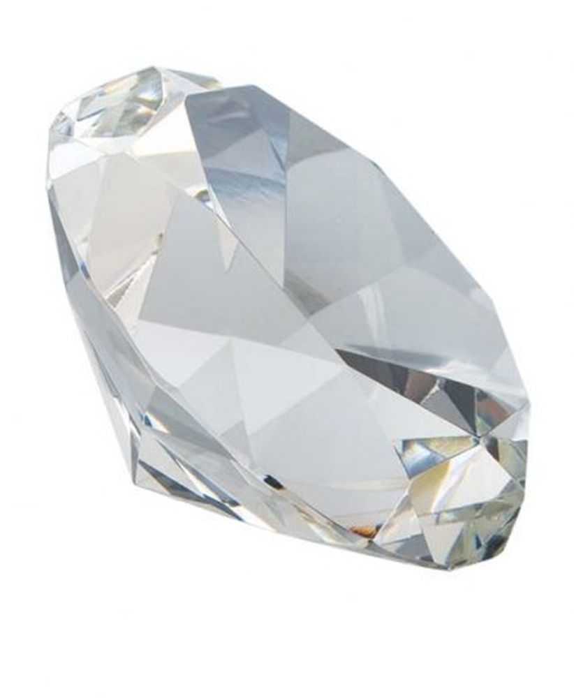 Fermacarte Diamante Cristallo Bianco cm.4h diam.7