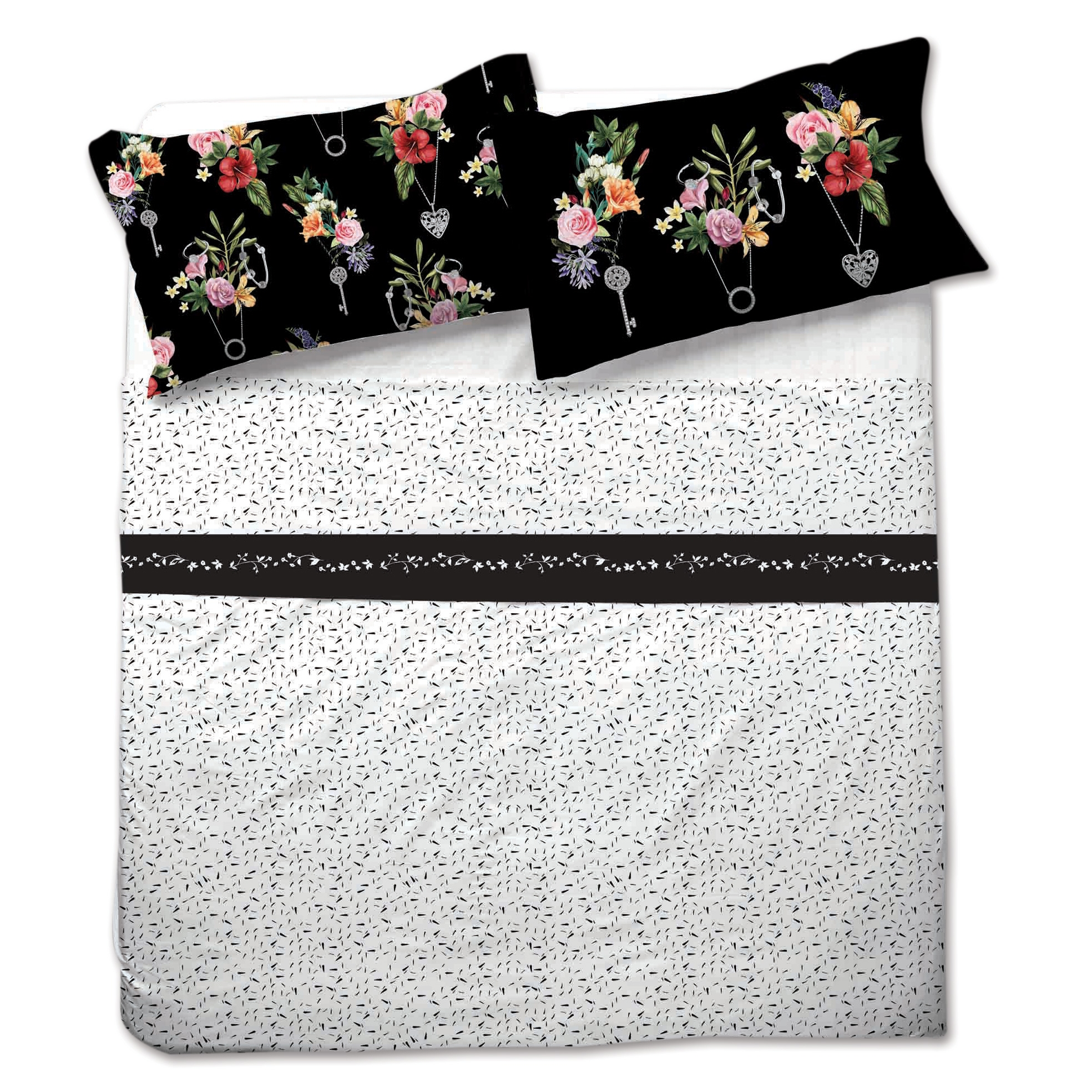 Completo lenzuola matrimoniale COOL floreale stampa digitale bianco e nero