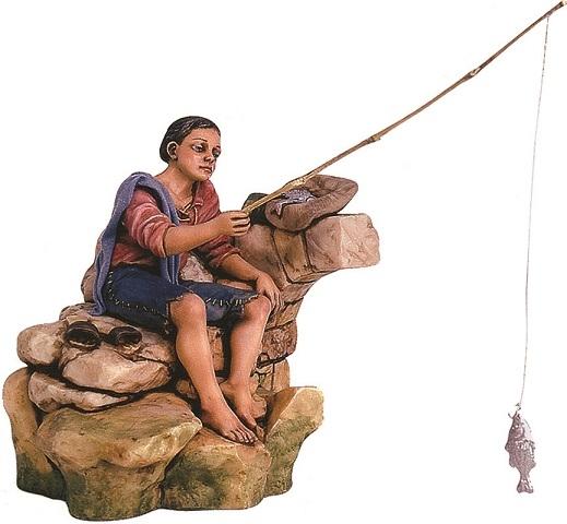 Pescatore in movimento cm. 25