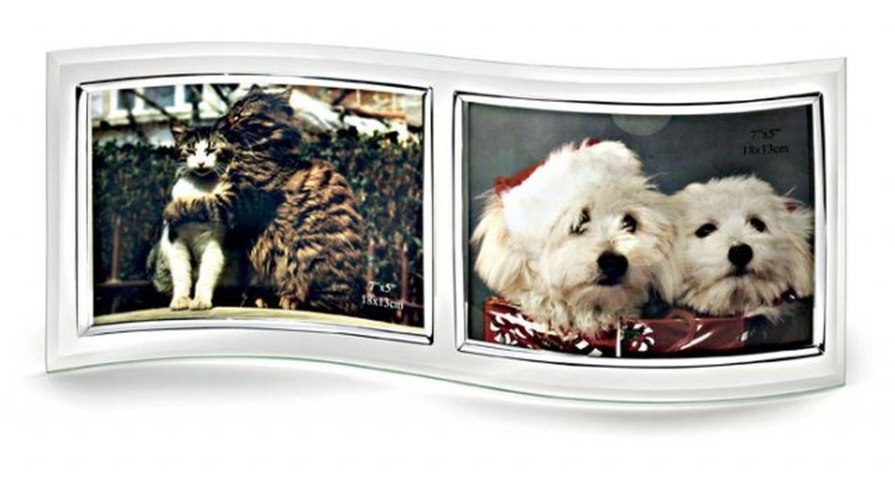 Portafoto doppio in vetro per foto 9x13 cm.31x13