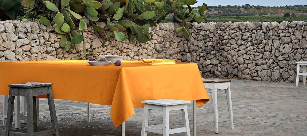 Tovaglia per 12 persone Panama di Puro Cotone Tessitura Italia - senape