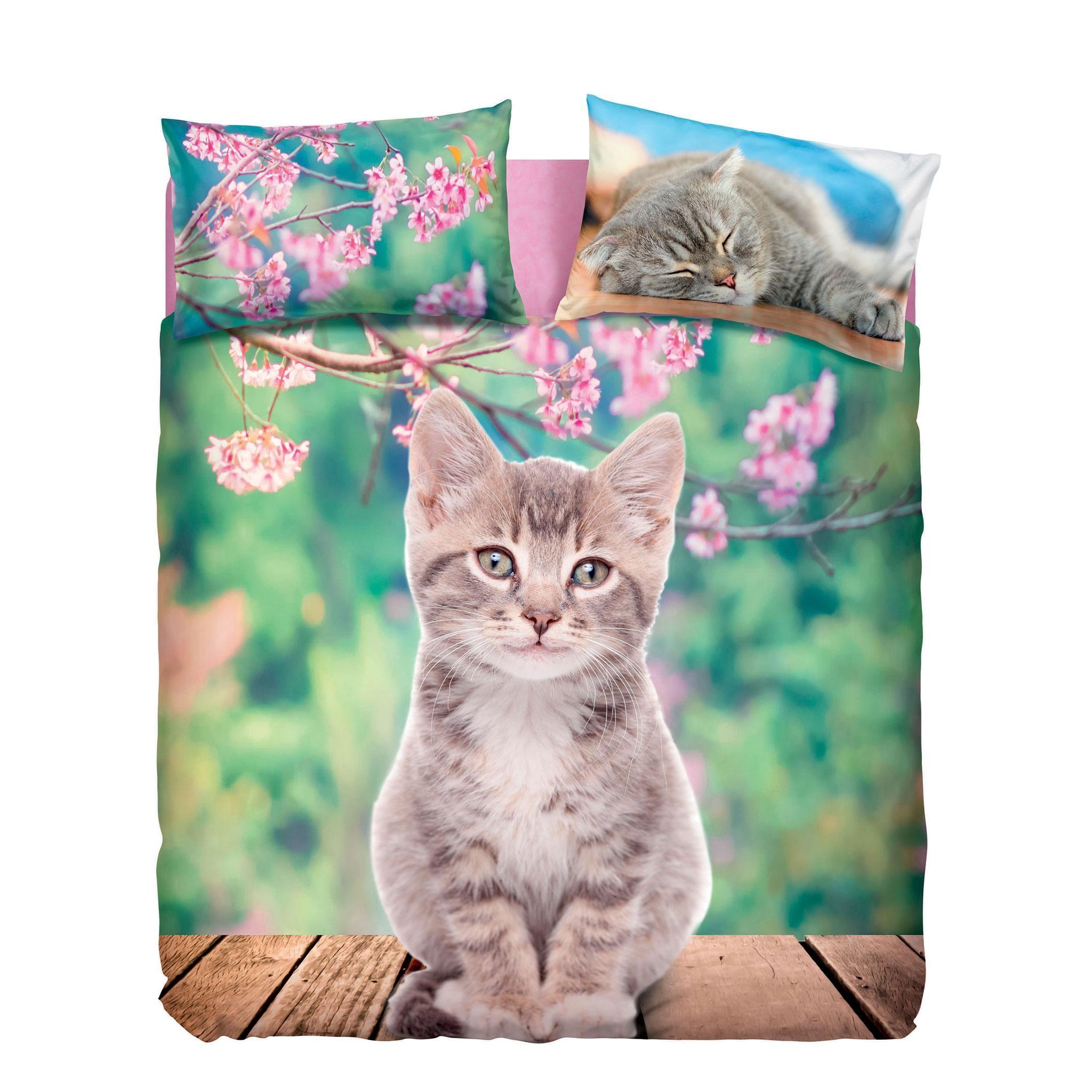 Copripiumino 155 X 200.Set Copripiumino Letto Singolo Nice Cats Gattino Sfondo Fiori