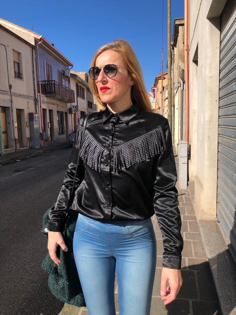 Camicia frange e borchiette Taglia M/L