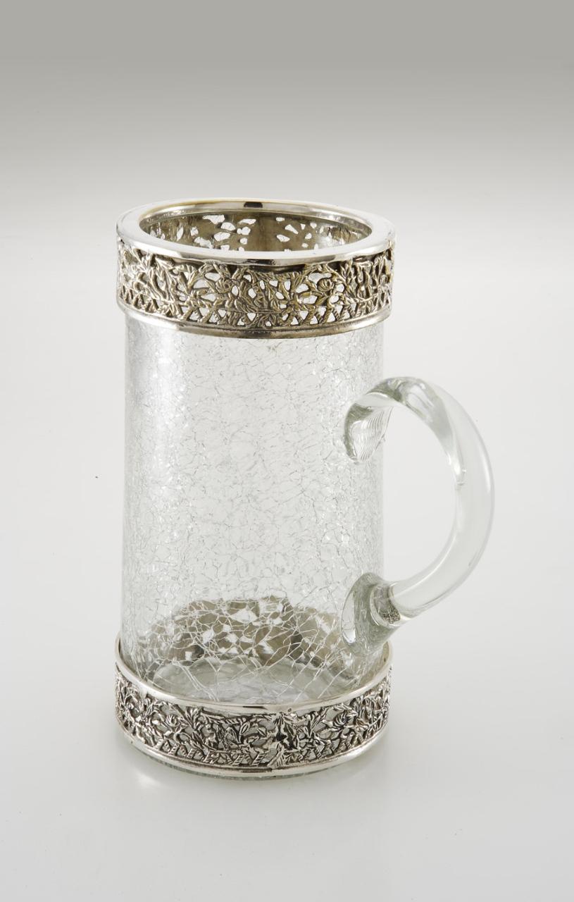 Boccale in vetro stile Liberty argentato argento sheffield cm.24h