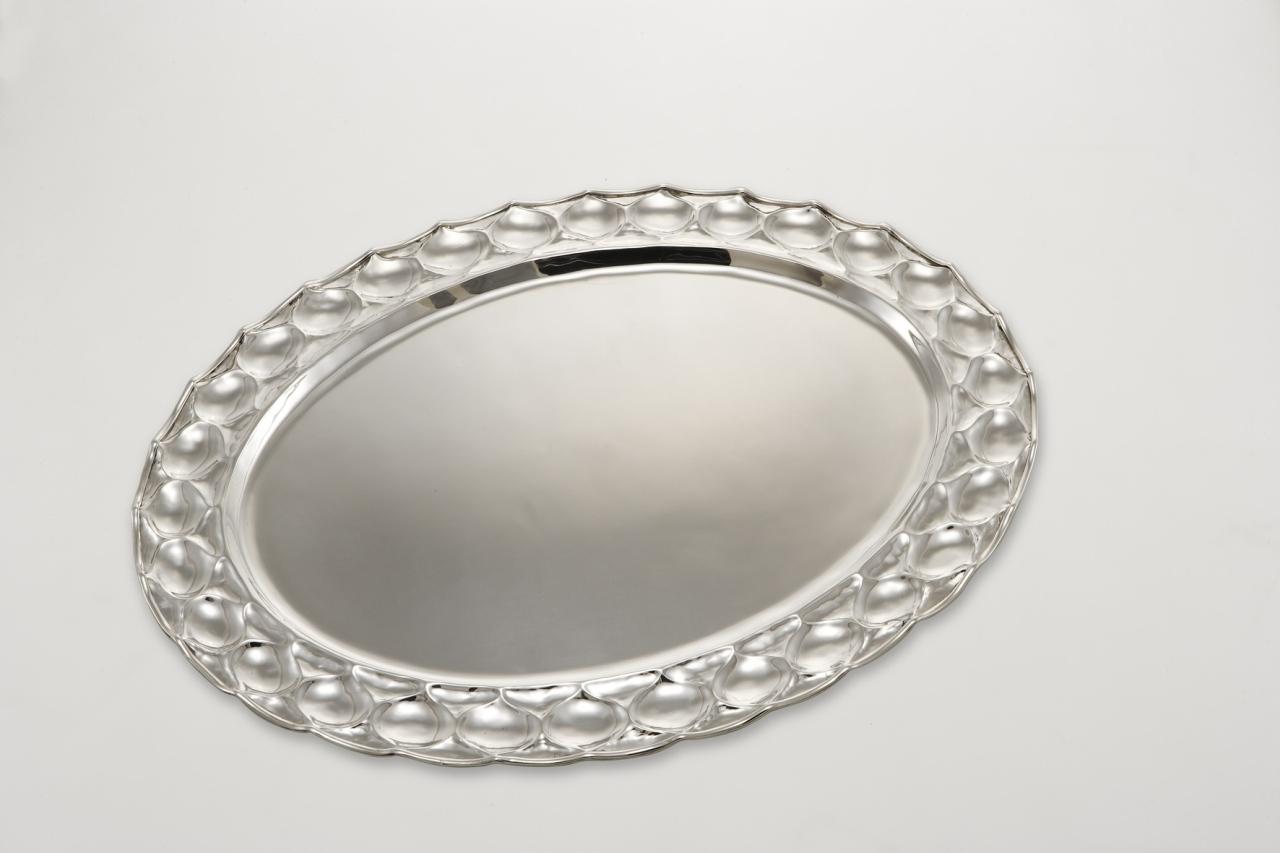 Vassoio ovale stile goccia argentato argento sheffield cm.66x50