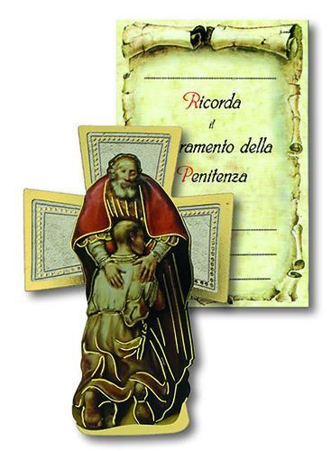 Croce in legno con cartoncino ricordo Penitenza