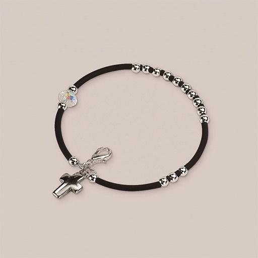 Braccialetto rosario in caucciù e metallo