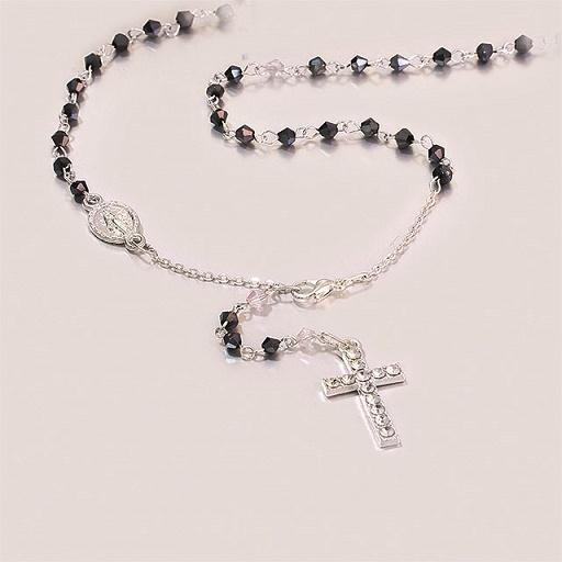 Collana rosario in cristallo e croce strass con cofanetto