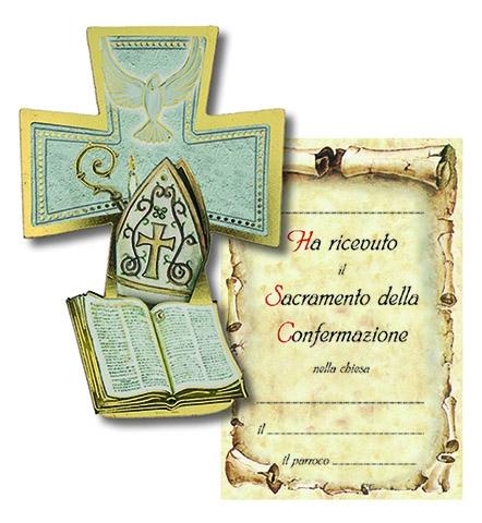 Croce legno con cartoncino ricordo Confermazione