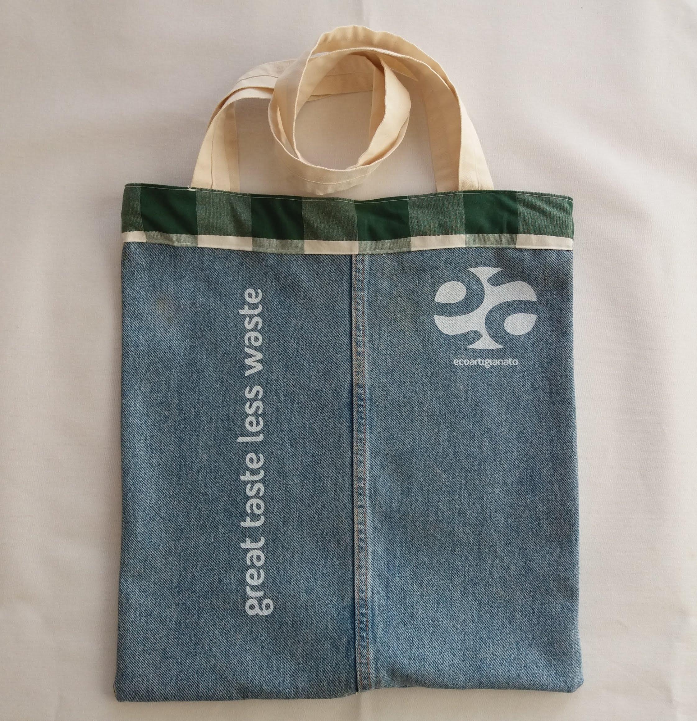Shopping bag jeans e tessuto manici bianchi
