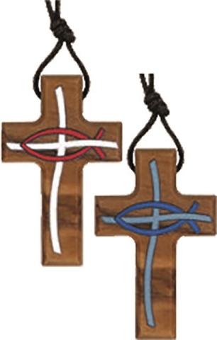 Croce in ulivo con disegni a smalto