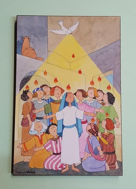 FINE SERIE 8 pezzi - Quadretto legno discesa Spirito Santo