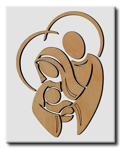 Quadro Sacra Famiglia in rilievo su legno laccato 40x50