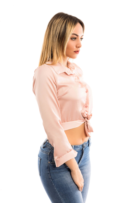 Camicia corta con bottoni e fiocco - colore Cipria