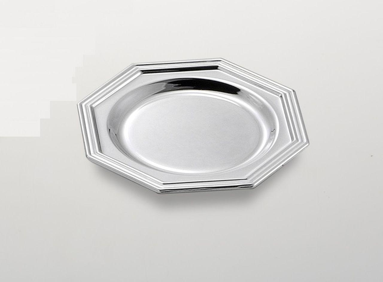 Sottobicchiere ottagonale placcato argento stile inglese cm.diam.10