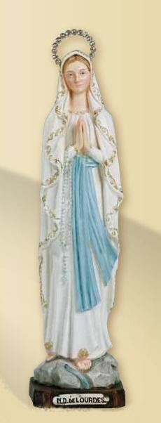Madonna di Lourdes in resina cm. 30 con aureola