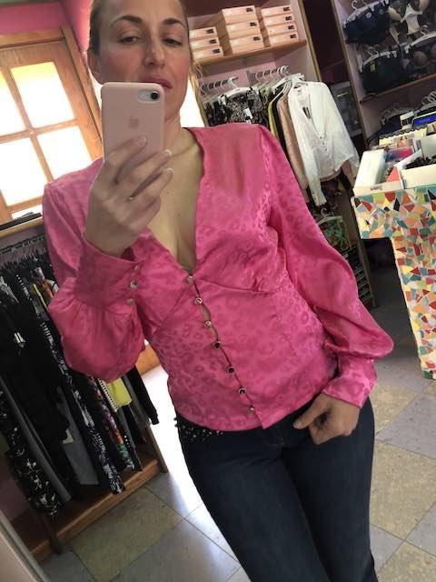 Camicia in raso maculato con bottoni 6 colori