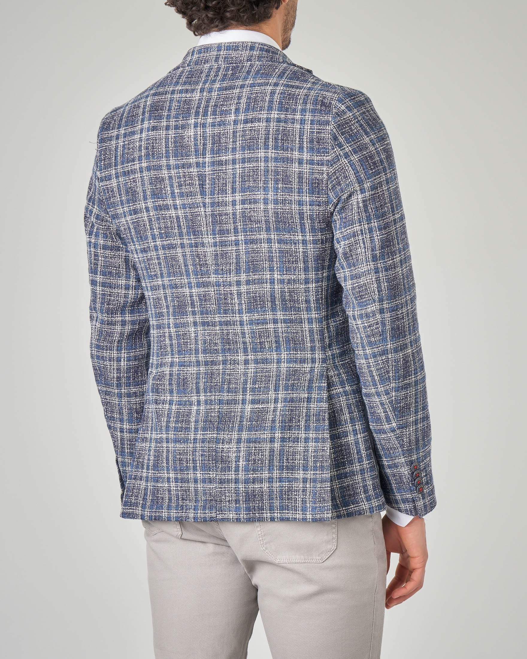 new concept ceadb 4ed39 Giacca blu e bianca a quadri | Pellizzari E-commerce