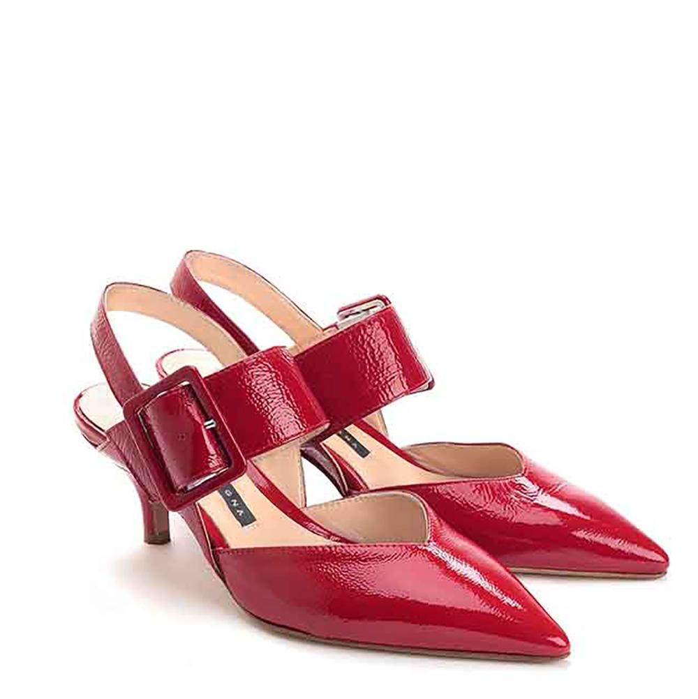 Scarpe con tacco in naplax smalto lucido colore rosso - CHIARINI BOLOGNA