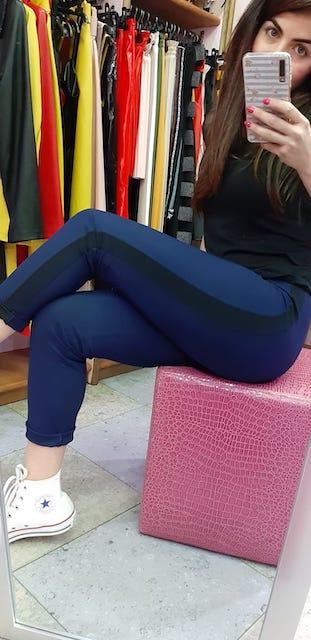 Pantalone con bande in contrasto in Sensitive Bicolor Oroblù XS e L