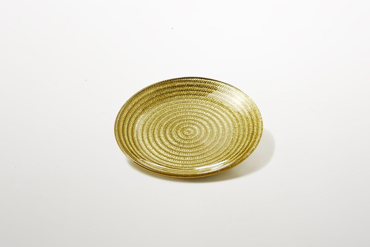 Piattino per dolci in vetro colore oro riflessi dorati