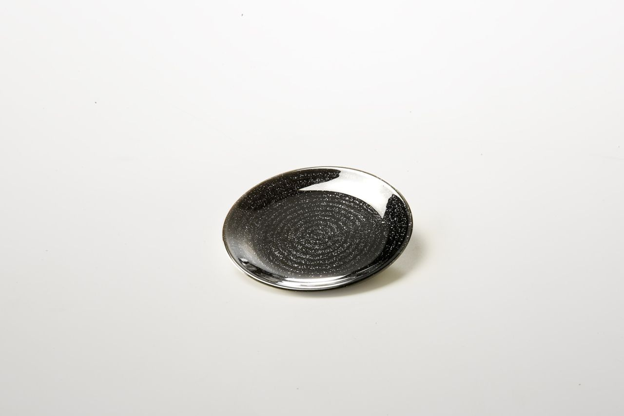 Piattino per dolci in vetro nero riflessi dorati cm.1,5h diam.16