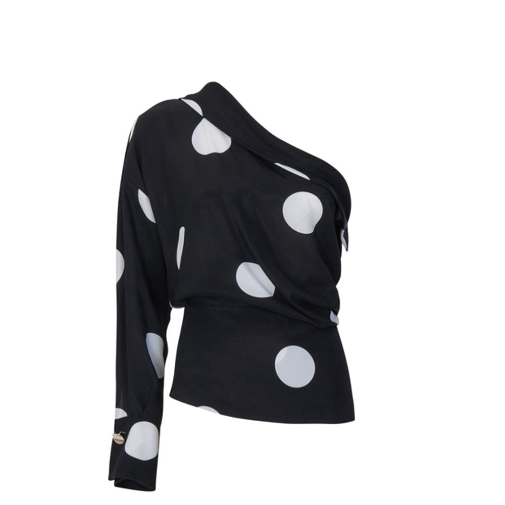 Blusa monospalla nera con macro pois bianchi - SPACE SIMONA CORSELLINI