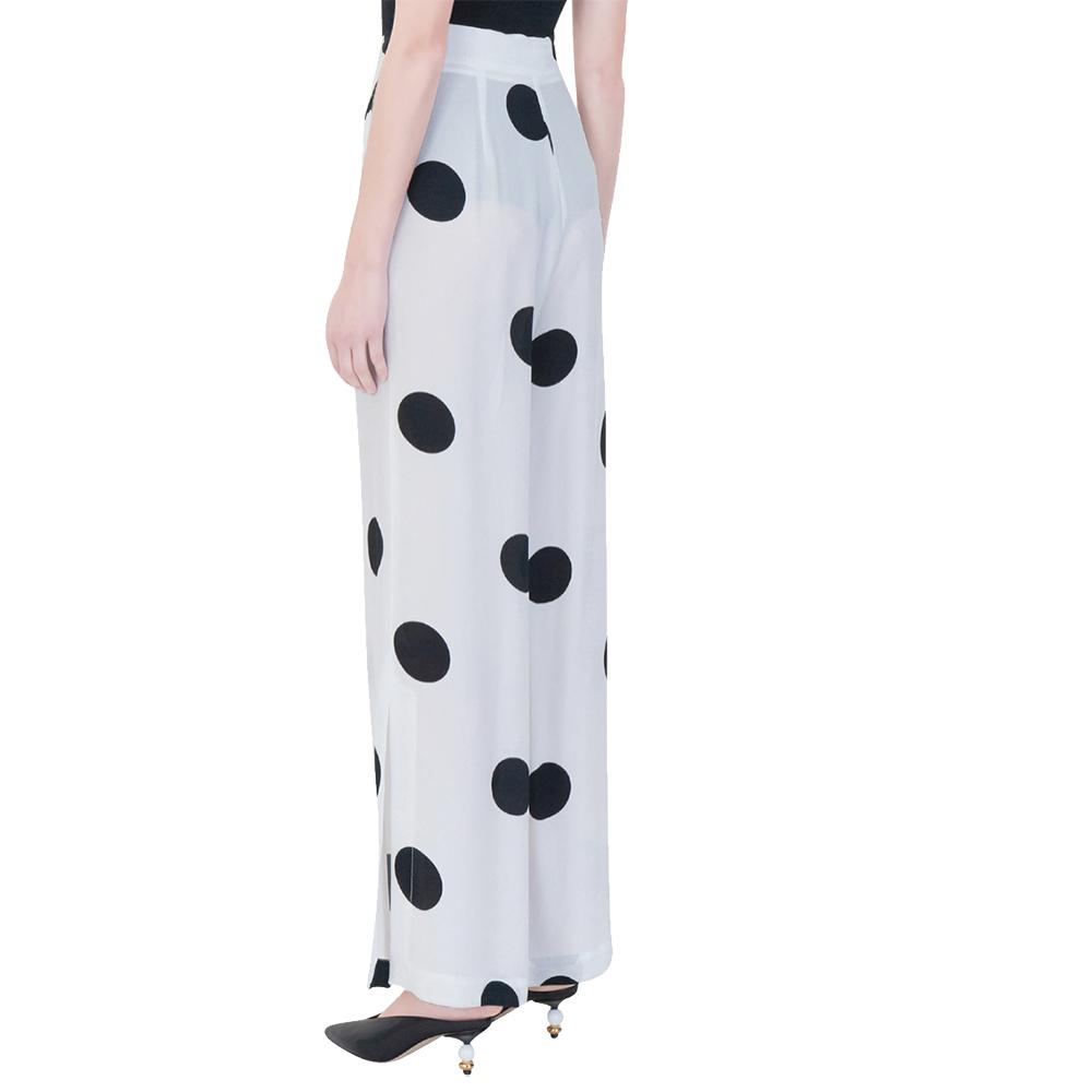 Pantalone bianco con stampa macro pois neri - SPACE SIMONA CORSELLINI