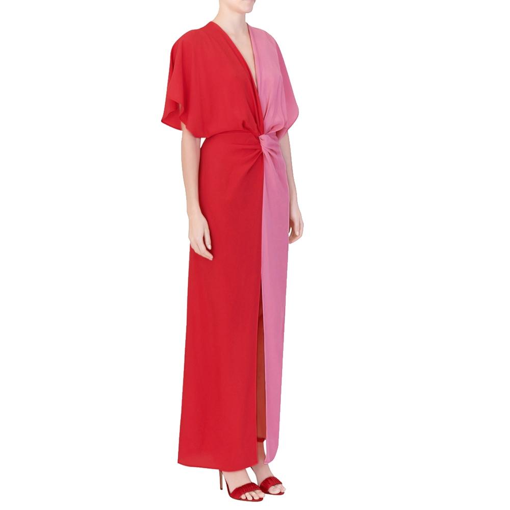 Abito lungo bicolore rosa e rosso - SPACE SIMONA CORSELLINI