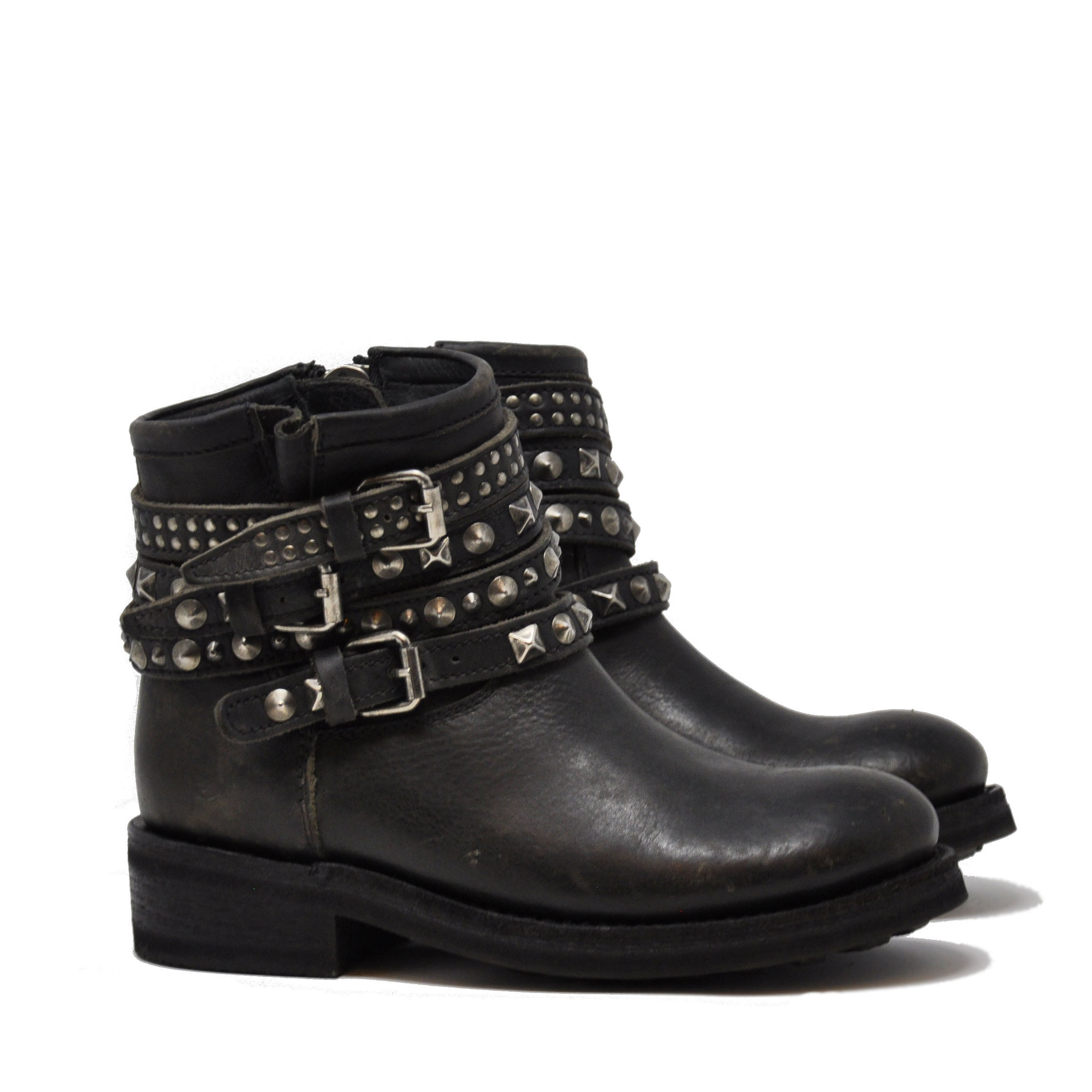 Biker TATUM destroyer - ASH Mexican boots-old nikel studs