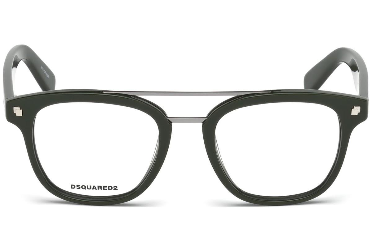 Dsquared2 - Occhiale da Vista Unisex, Dsquared2 DQ, Shiny Dark Green 5232 C50 096