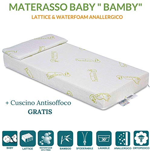 Matelas lit ou berceau pour enfants hauteur 12 cm + oreiller anti-suffocation gratuit avec housse en coton naturel hypoallergénique, revêtement déhoussable et lavable en machine, orthopédique