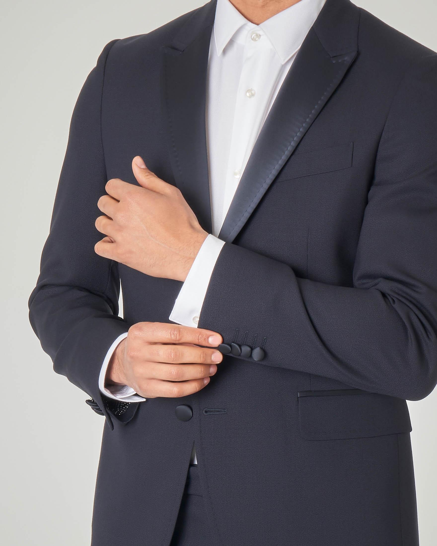 Smoking blu in tela di lana