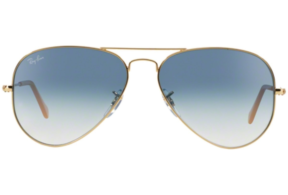 Ray Ban - Occhiale da Sole Unisex, Aviator Large Metal, Gold/Gradient Blue RB3025 001/3F C55