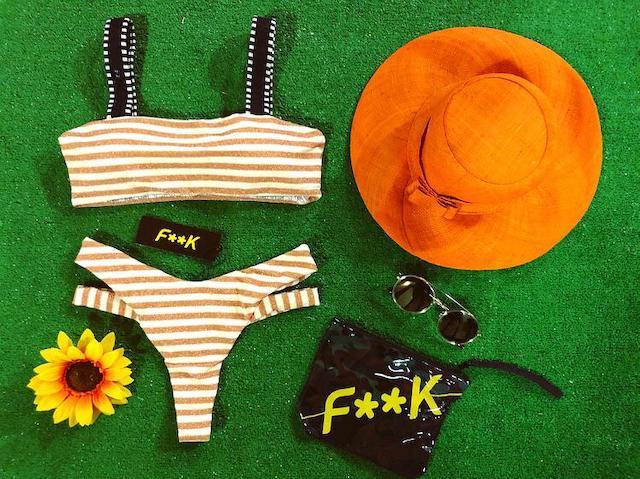 Bikini Fascia con bretelle e slip brasiliano righe giallo Effek Taglia M