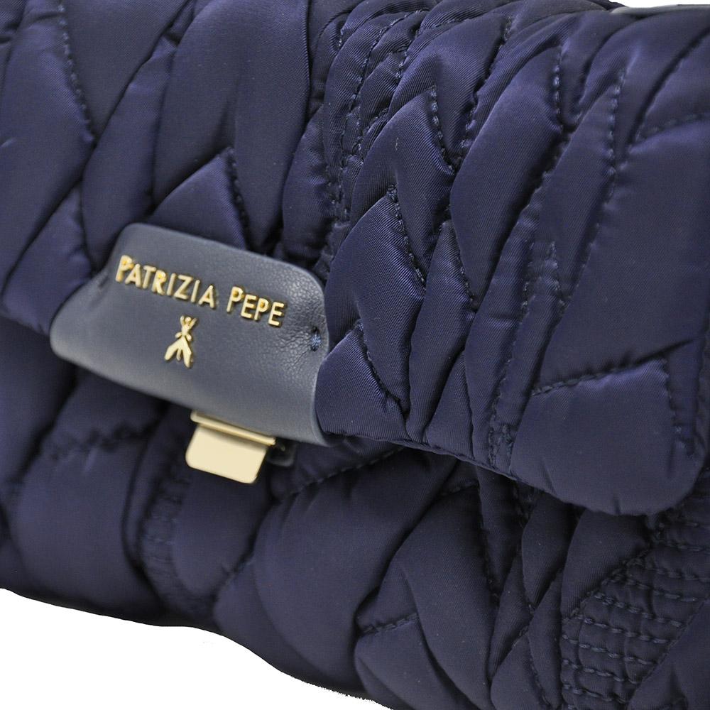 Borsa a tracolla in nylon trapuntato colore blu - PATRIZIA PEPE
