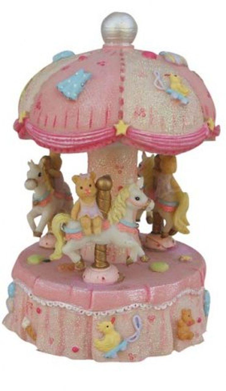 Giostra carillon cavallini rosa bambina cm.8x8x14h