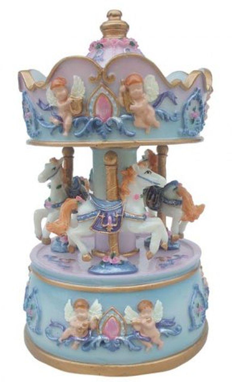 Giostra cavalli angioletti rosa e azzurra cm.13h diam.8