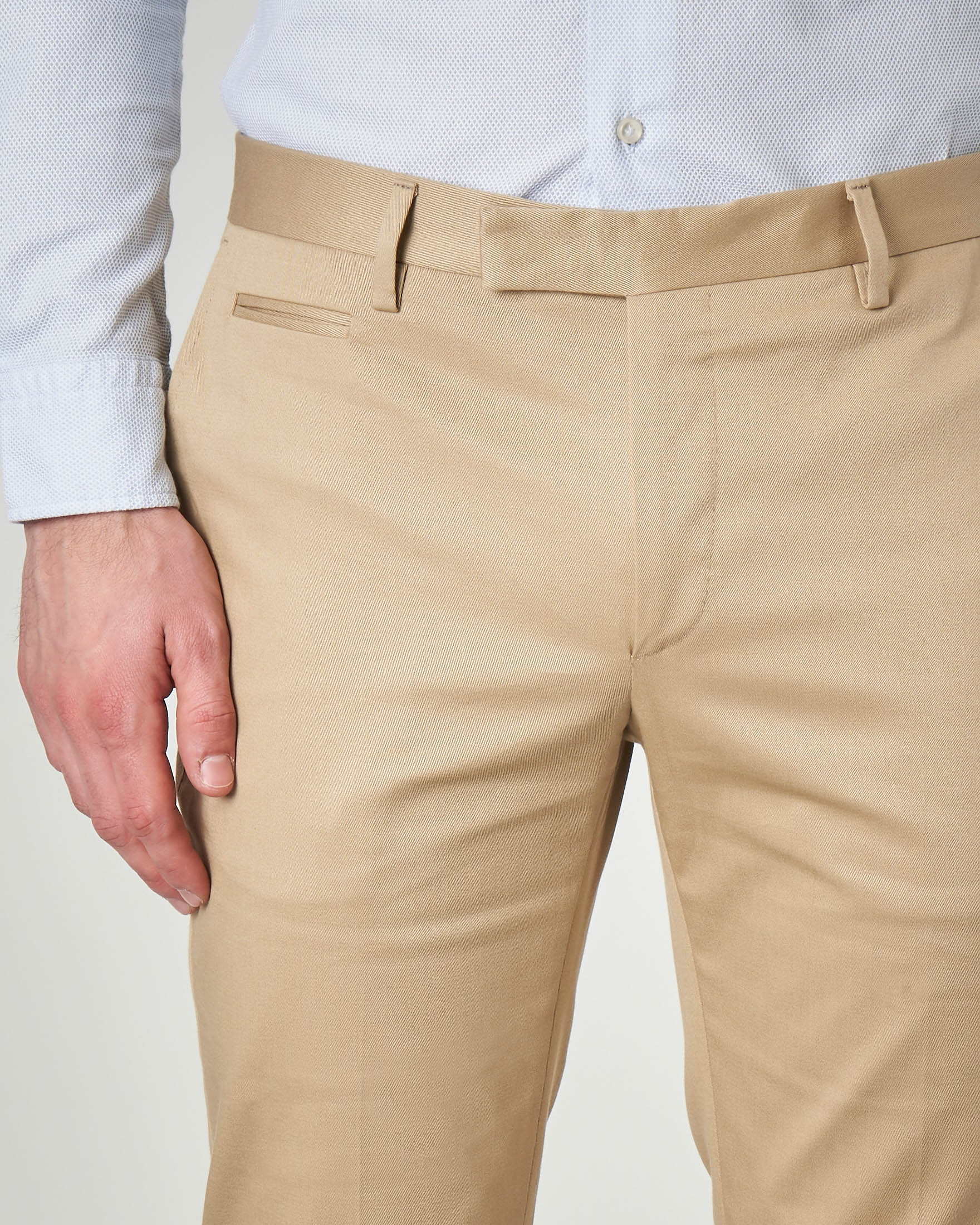Pantalone beige in cotone stretch