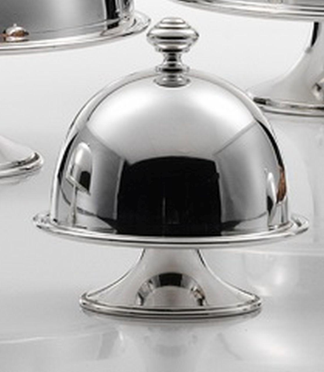 Alzata tonda in metallo placcato argento con cupola