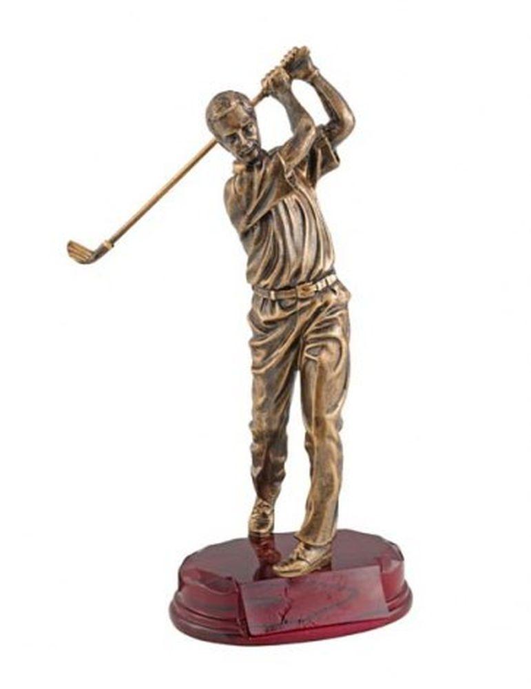 Trofeo giocatore golf statuetta lancio azione