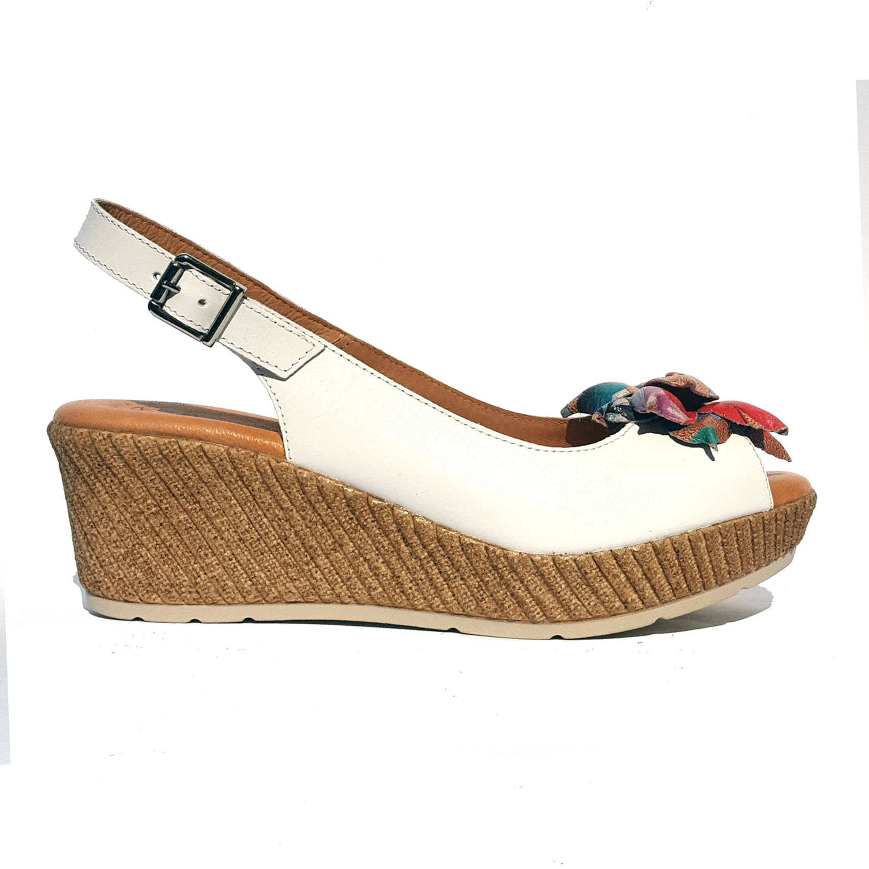 Sandalo bianco con fiore Raquel Perez