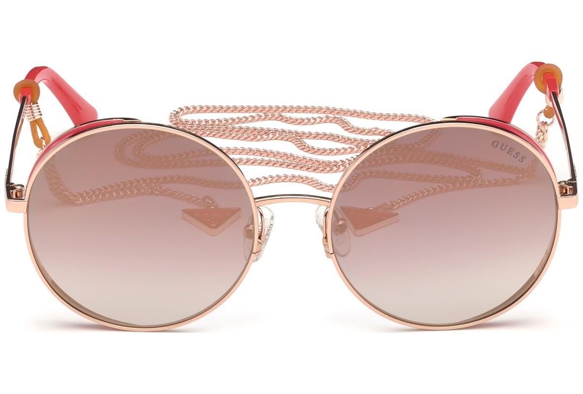Guess - Occhiale da Sole Donna, Shiny Rose Gold/Bordeaux Mirror GU 7606 28U C57