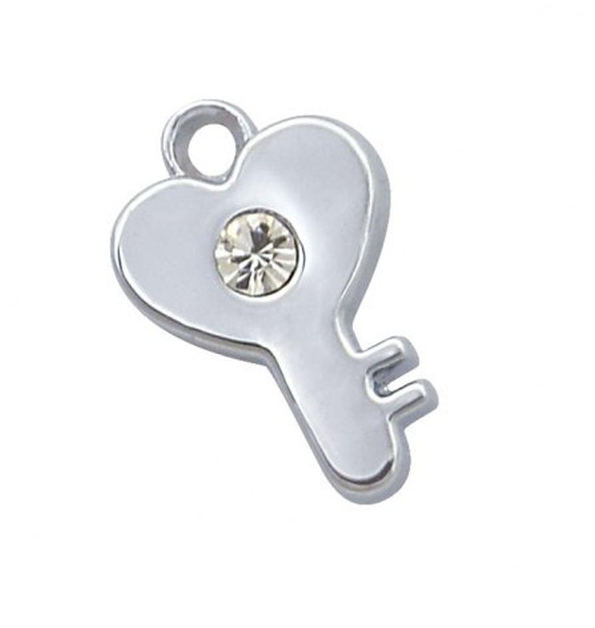 Charm chiave cromato con brillantino