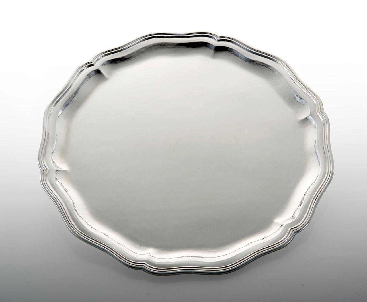 Piatto tondo placcato argento stile 700
