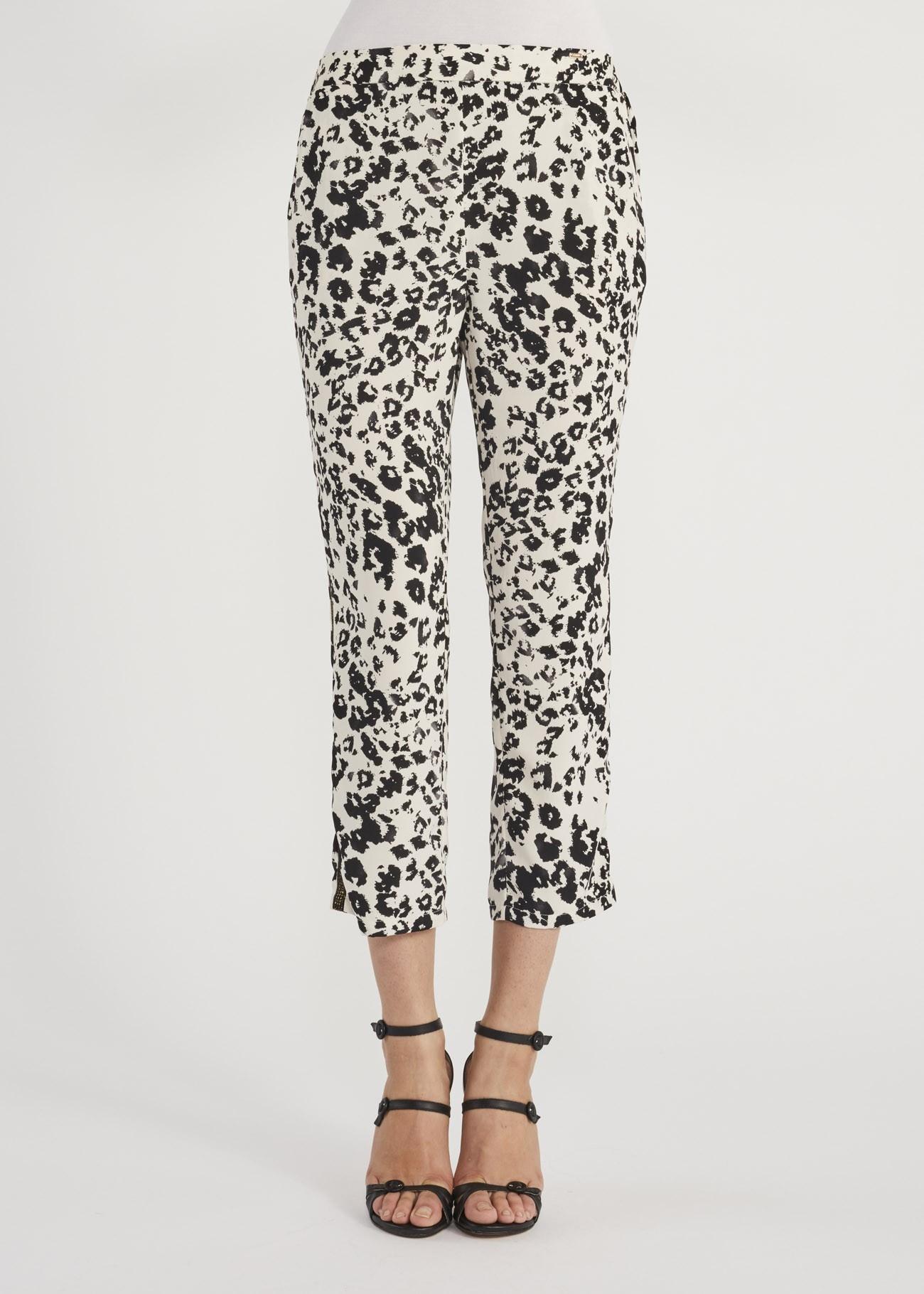 Pantaloni donna GAUDì animalier bianchi/neri